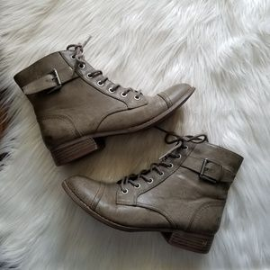 G by Guess Gray Buckle Lace Combat Boots